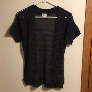 Mossimo short sleeve charcoal gray/black cardigan